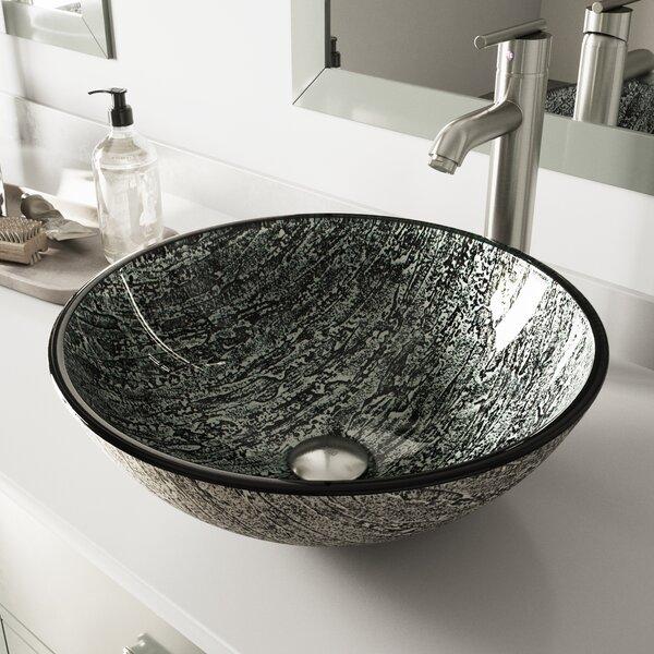 Titanium Glass Circular Vessel Bathroom Sink with Faucet by VIGO