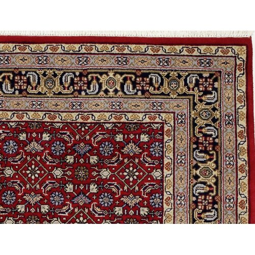 Hand-Knotted Red/Blue Rug Three Posts Rug Size: Runner 82 x