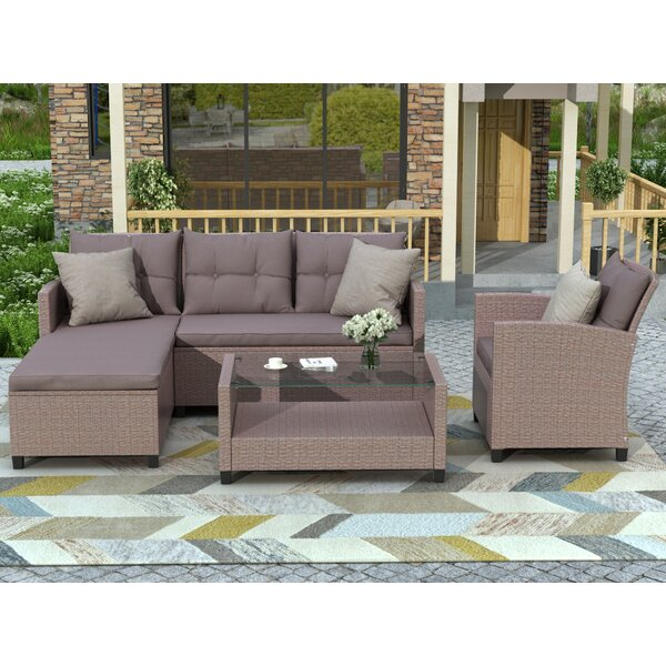 Joana 4 Piece Rattan Sectional Seating Group with Cushions by Bayou Breeze Bayou Breeze