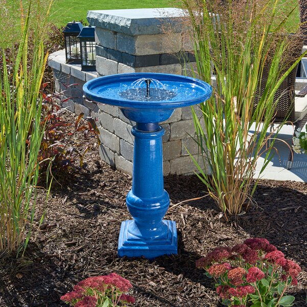 Solar Athena Blue Ceramic Solar Birdbath by Smart Solar
