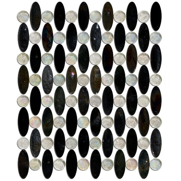 Signature Line Urban Love Beads Glass Mosaic Tile in Black/Clear by Susan Jablon