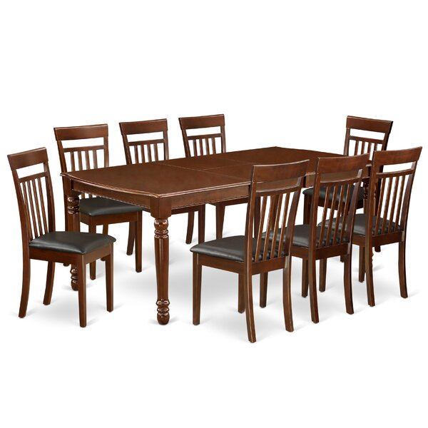Elvira 9 Piece Extendable Solid Wood Dining Set by Alcott Hill Alcott Hill