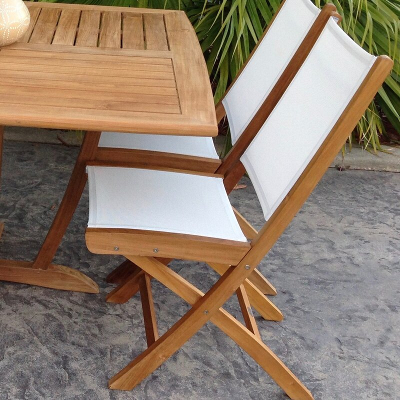 Bay Isle Home Addilyn Folding Teak Patio Dining Chair ...