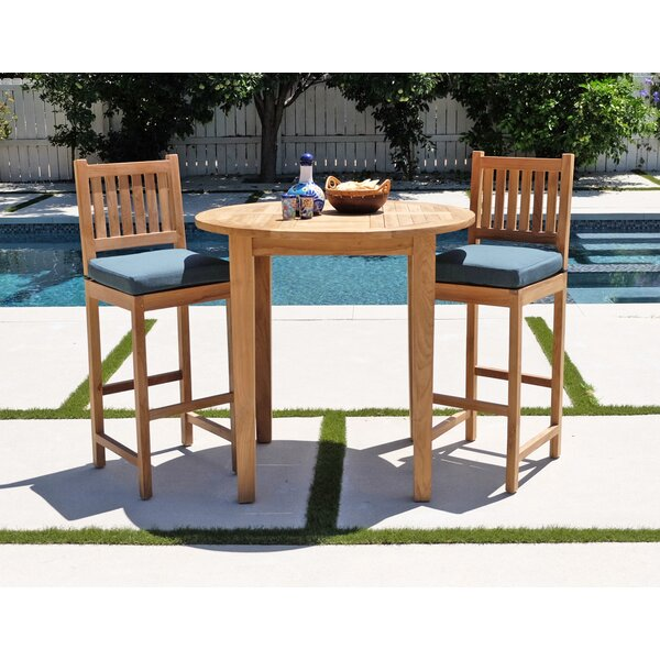 Crescio 3 Piece Teak Bar Set by Foundry Select