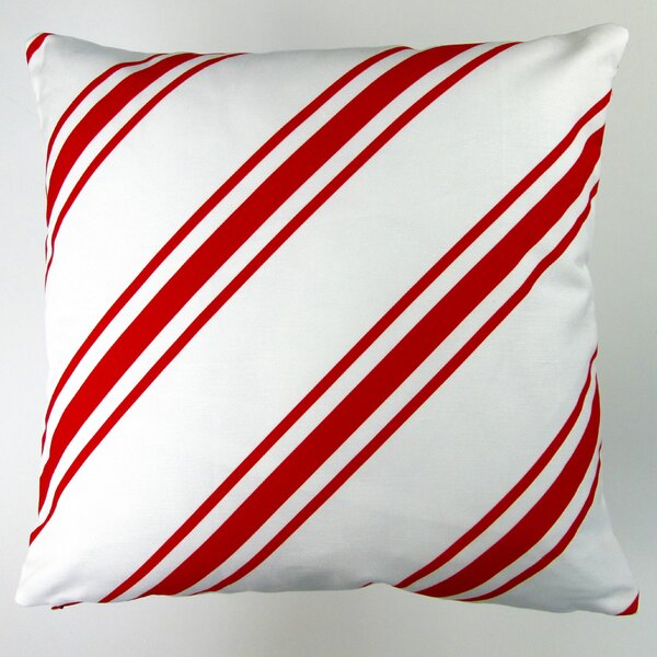 Christmas Candy Cane Stripes Throw Pillow Cover by Artisan Pillows