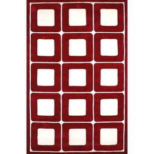 Price Check Modern Living Deco Blocks Red/White Rug By American Home Rug Co.