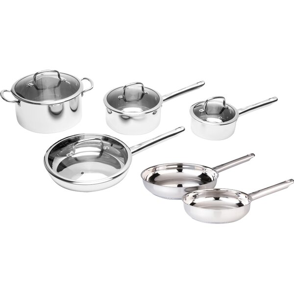 Boreal Stainless Steel 10-Piece Cookware Set by BergHOFF International