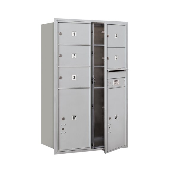 Recessed USPS 8 Door Front Load 4C Horizontal Mail Center with 1 Parcel Locker by Salsbury Industries