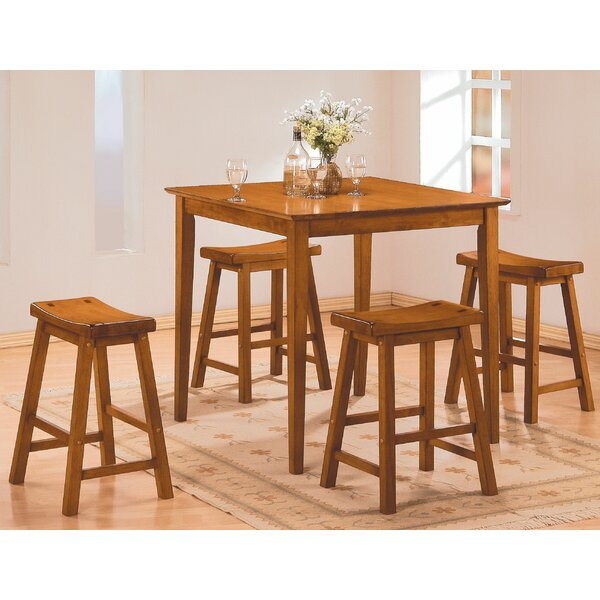Magdalena 5 Piece Counter Height Solid Wood Dining Set by Winston Porter