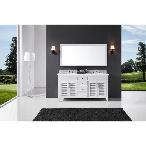 Magdalen 60 Double Bathroom Vanity Set with Mirror by Highland Dunes