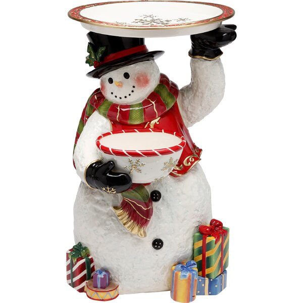 Snowman 18 Fig with Plate by Cosmos Gifts