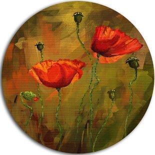 u0027Watercolor Poppy Flowersu0027 Painting Print on Metal. by Design Art  sc 1 st  Wayfair & Metal Poppy Wall Art Youu0027ll Love | Wayfair