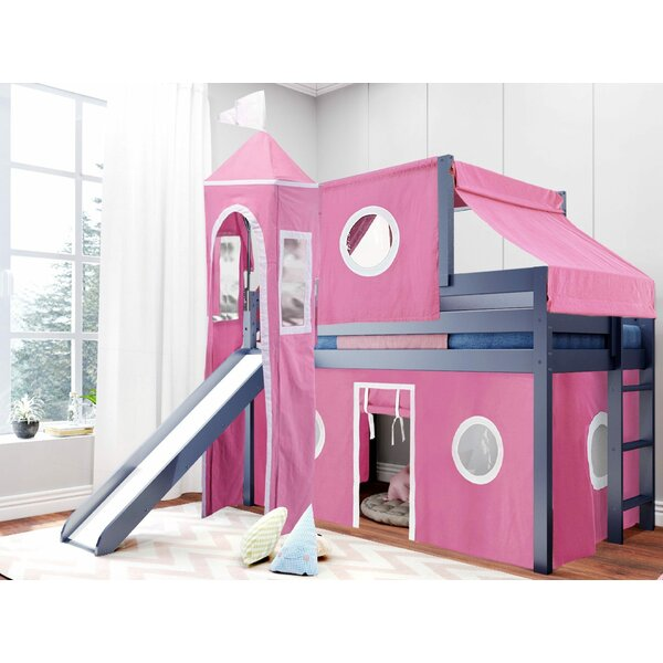 Aisling Castle Twin Low Loft Bed with Slide and Tent by Zoomie Kids Zoomie Kids