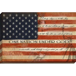 One Nation Under God Flag Giclee Graphic Art on Wrapped Canvas by Carpentree
