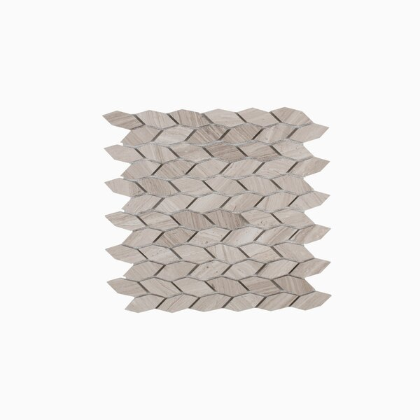 Navi 12.06 x 12.06 Marble Mosaic Tile in White Wooden by Maykke