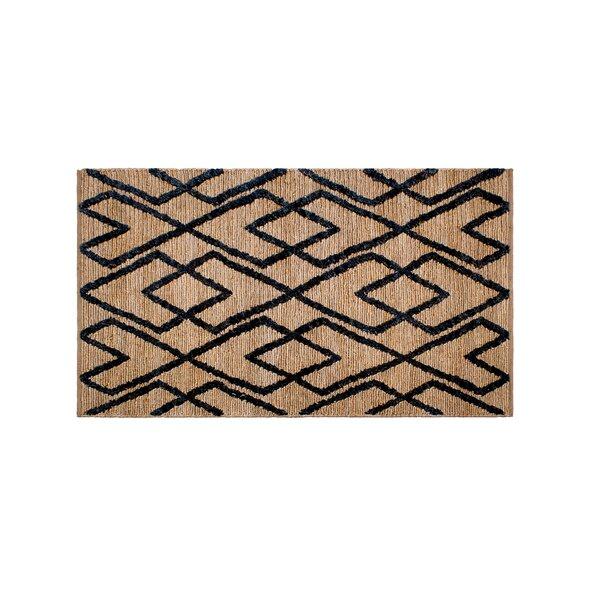 Fleishman Soumak Hand-Woven Wool Charcoal/Tan Area Rug by Wrought Studio