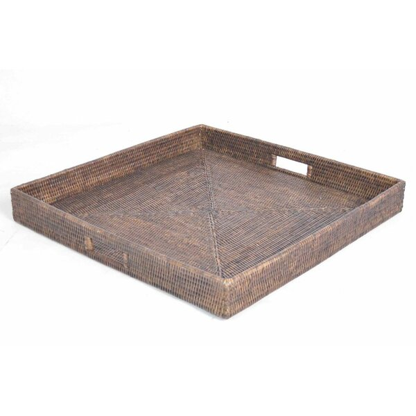 Rattan Square Tray with Cutout Handles by artifacts trading