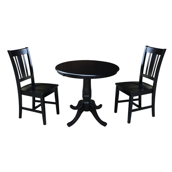 Politte 3 Piece Extendable Solid Wood Dining Set by Charlton Home