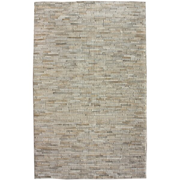 One-of-a-Kind Bellevue Patchwork Hand-Woven Cowhide Off White Area Rug by Foundry Select