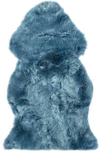 Fabian Single Pelt Shag Sheepskin Teal Area Rug by Brayden Studio