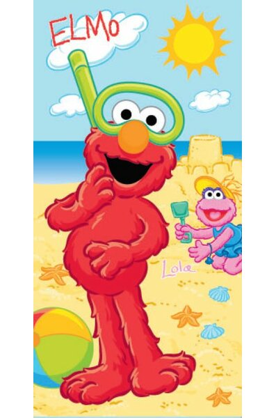 Royal Plush Elmo and Lola Building a Sandcastle Beach Towel by Ben and Jonah