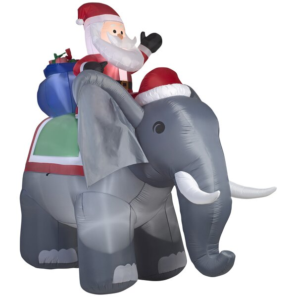 Santa on Elephant Christmas Oversized Figurine by