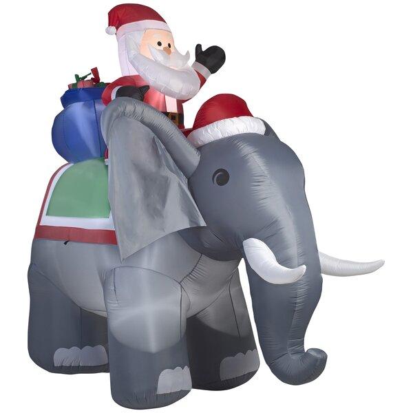 Santa on Elephant Christmas Oversized Figurine by The Holiday Aisle