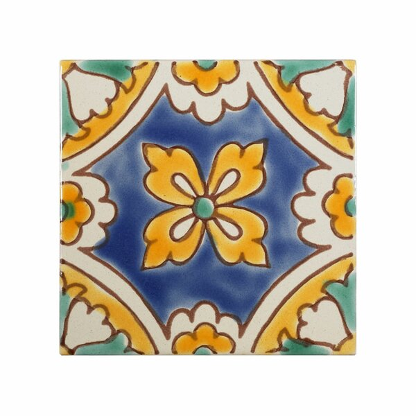 Mediterranean 4 x 4 Ceramic Florence Dux Decorative Tile in Blue/Yellow by Casablanca Market