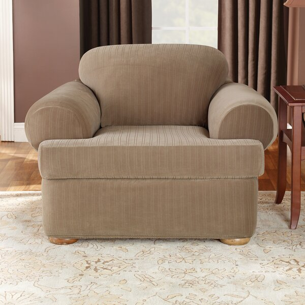 Review Stretch Pinstripe T-Cushion Armchair Slipcover