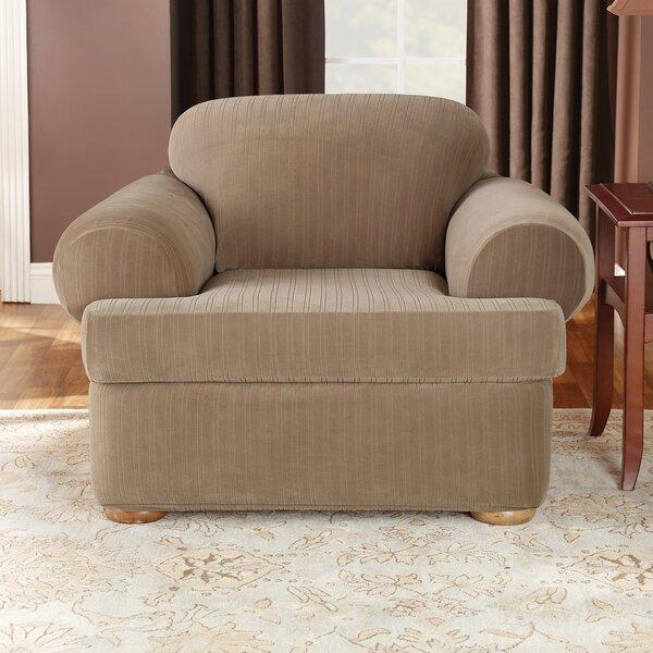Cheap Price Stretch Pinstripe T-Cushion Armchair Slipcover