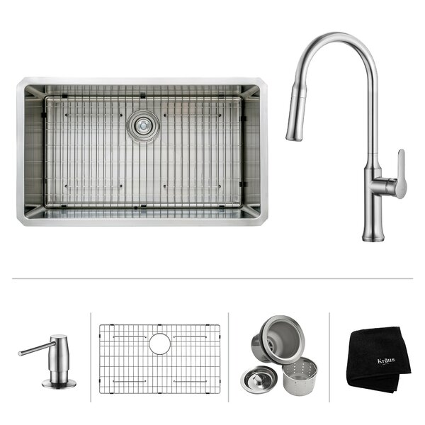 Kitchen Combos 32 L x 19 W Undermount Kitchen Sink with Kitchen Faucet/Soap Dispenser by Kraus