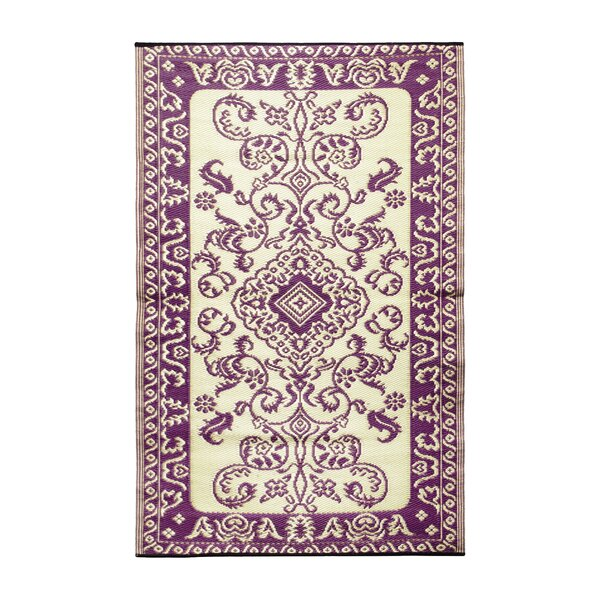 Classic Violet & Ivory Outdoor Area Rug by Koko Company