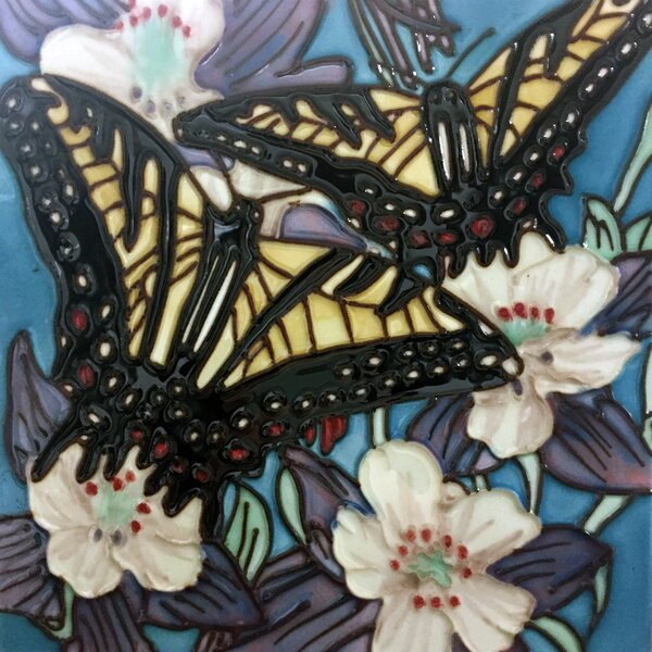 2 Butterflies With Blue Background Tile Wall Decor by Continental Art Center