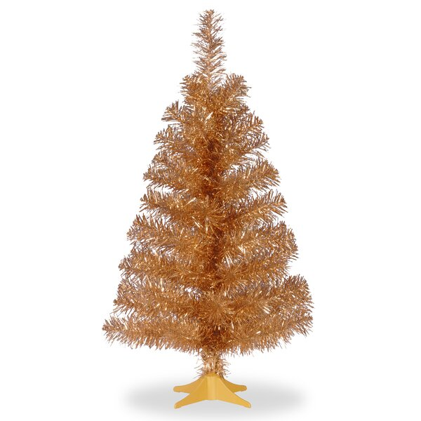 Tinsel Trees 3 Champagne Artificial Christmas Tree and Stand by Three Posts