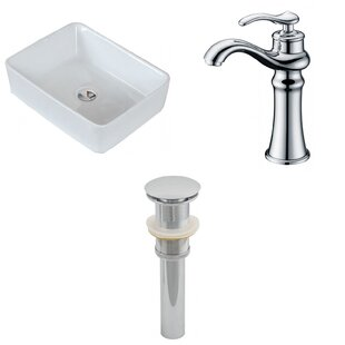 Low priced Ceramic Rectangular Vessel Bathroom Sink with Faucet ByAmerican Imaginations