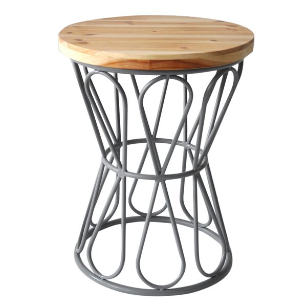 Wood Top Stool with Metal Base by Cheungs