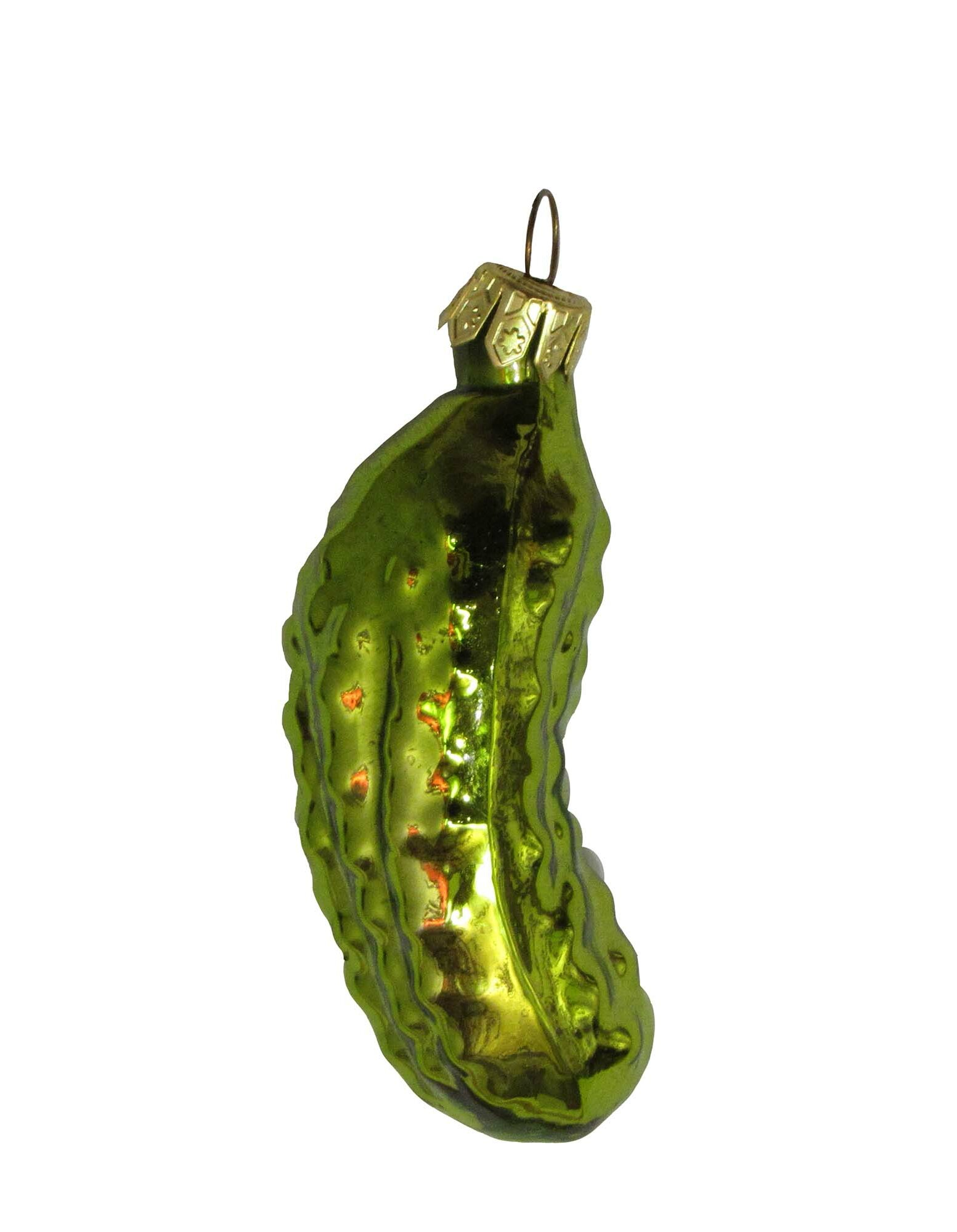 Pickle Christmas Ornament.Hand Blown Glass Pickle Shaped Ornament