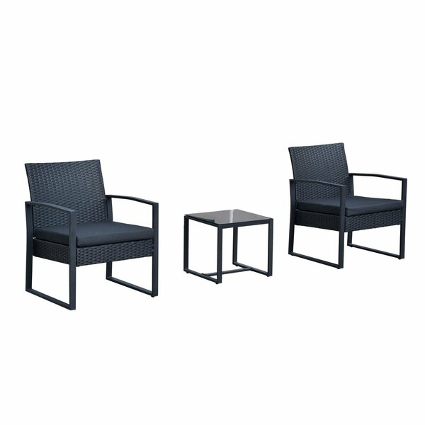 Ila Outdoor 3 Piece Rattan Seating Group with Cushions by Wrought Studio