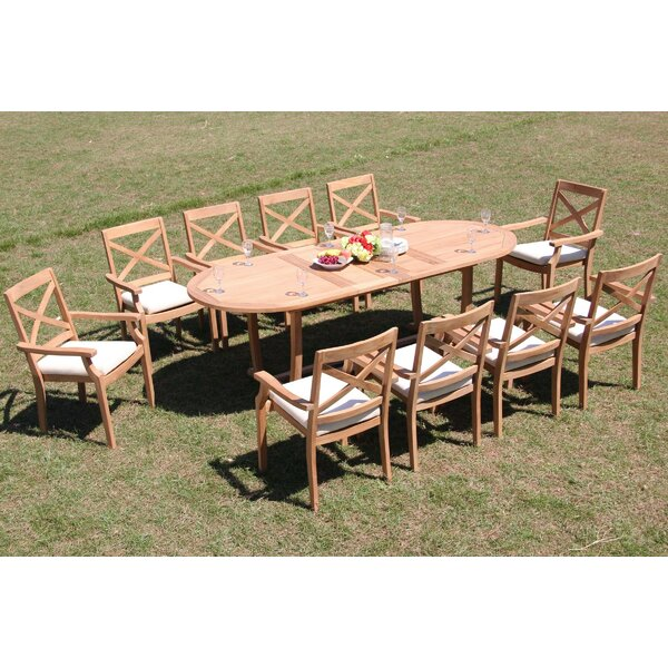 Hillpoint 11 Piece Teak Dining Set by Rosecliff Heights