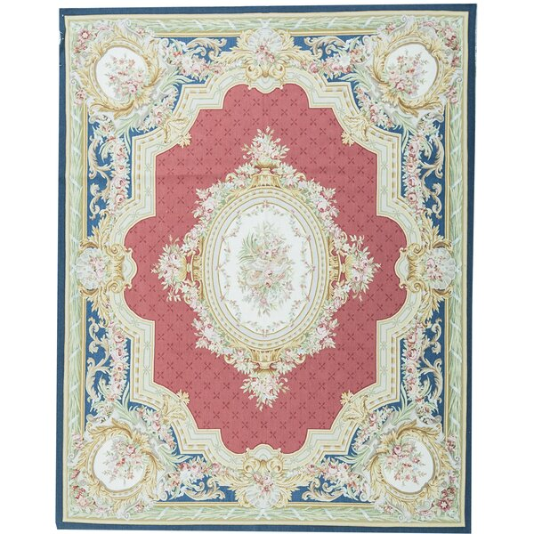 Oriental Hand-Knotted 8.1' x 10.2' Wool Red/Navy Area Rug