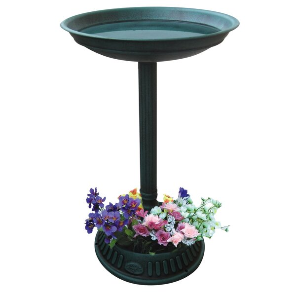 Birdbath with Planter Pedestal by Benzara