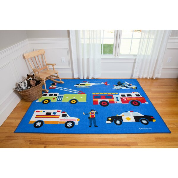 Olive Kids Heroes Blue Area Rug by Wildkin