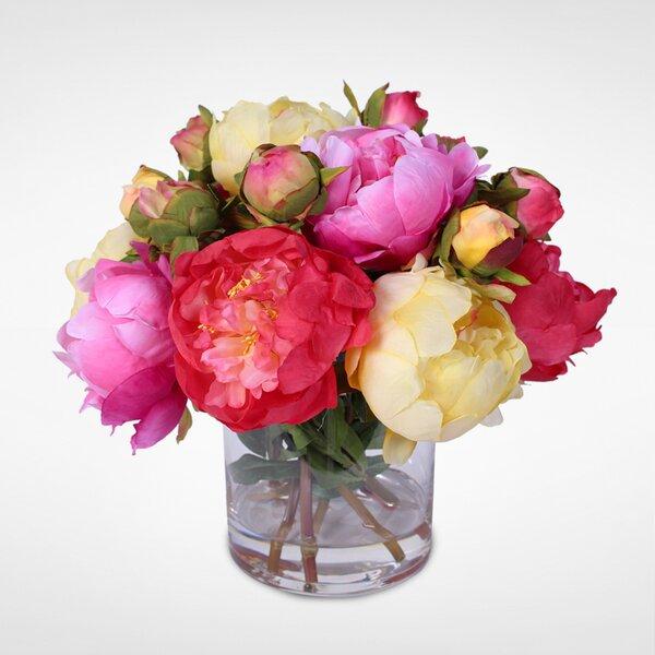 Handmade Silk French Peonies Bouquet Floral Arrangement in Vase by Rosdorf Park