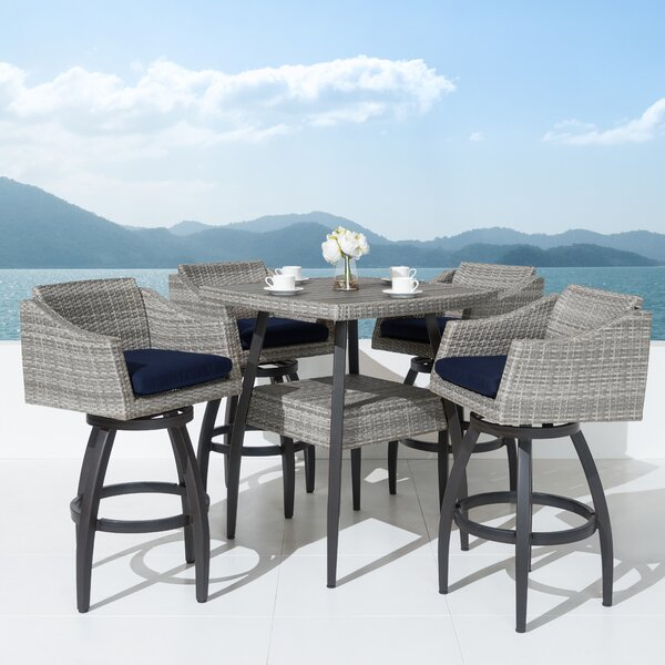 Castelli 5 Piece Sunbrella Bar Height Dining Set with Cushions by Wade Logan