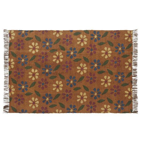 Pereira Farmhouse Flooring Printed Handmade Kilim Wool Orange Area Rug by August Grove