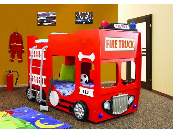 Fire Truck Toddler Bunk Bed by Plastiko