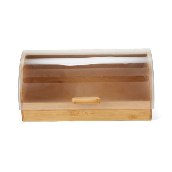 Large Capacity Bamboo Bread Box with Rolltop Plastic Cover Food Storage Bin by Mind Reader