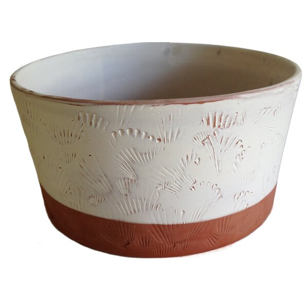 Hazeldell Shell Cylinder Clay Pot Planter by Highland Dunes