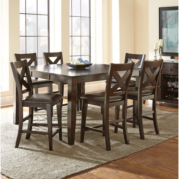 York 7 Piece Counter Height Extendable Solid Wood Dining Set by Alcott Hill