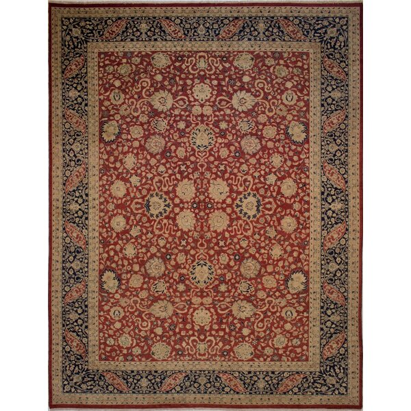Maly Vegetable-Dyed Hand-Knotted Wool Navy/Red Area Rug by Astoria Grand